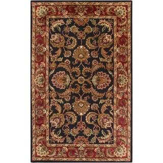 Hand-tufted Grandeur Black Wool Rug (5' x 8')