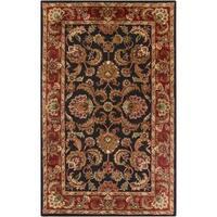 Hand-tufted Grandeur Black Wool Area Rug (5' x 8')