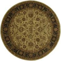 Hand-Tufted Traditional Grandeur Beige Wool Area Rug (8' Round)