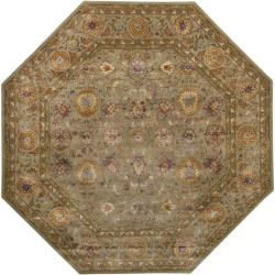 Hand-tufted Grandeur Tan Wool Rug (8' Octagon) - Thumbnail 1