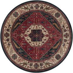 Hand-tufted Grandeur Beige Wool Rug (8' Round) - Thumbnail 2