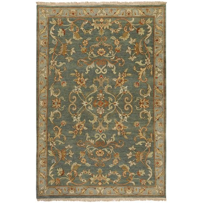 Hand-knotted Legacy Teal Wool Rug (3'9 x 5'9)