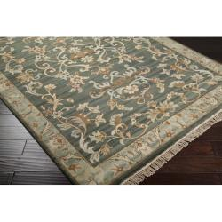 Hand-knotted Legacy Teal Wool Rug (3'9 x 5'9) - Thumbnail 1