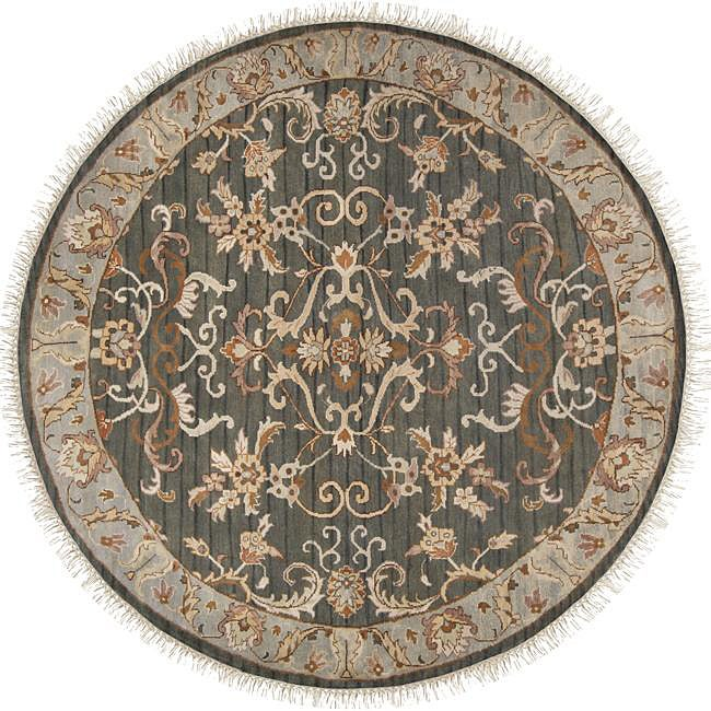 Hand-knotted Legacy Teal Wool Rug (8' Round)