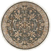 Hand-knotted Legacy Teal Wool Area Rug (8' Round)