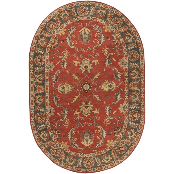 Hand Tufted Coliseum Rust Traditional Border Wool Rug 6 X
