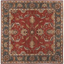 Hand-tufted Coliseum Rust   Traditional Border Wool Rug (9'9 Square)