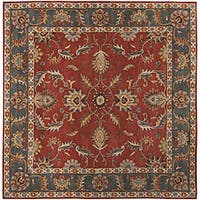 Hand-tufted Coliseum Rust Traditional Border Wool Area Rug (9'9 Square)