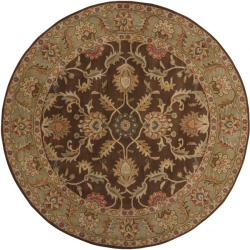 Hand-tufted Traditional Coliseum Chocolate Floral Border Wool Rug (4' Round) - Thumbnail 1