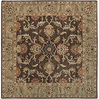 Hand-tufted Traditional Coliseum Chocolate Floral Border Wool Area Rug (4' Square)
