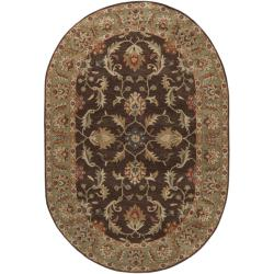 Hand-tufted Traditional Coliseum Chocolate Floral Border Wool Rug (6' x 9' Oval) - Thumbnail 2