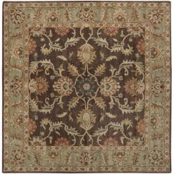 Hand-tufted Traditional Coliseum Chocolate Floral Border Wool Rug (6' Square) - Thumbnail 1