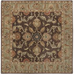 Hand-tufted Traditional Coliseum Chocolate Floral Border Wool Rug (6' Square) - Thumbnail 2