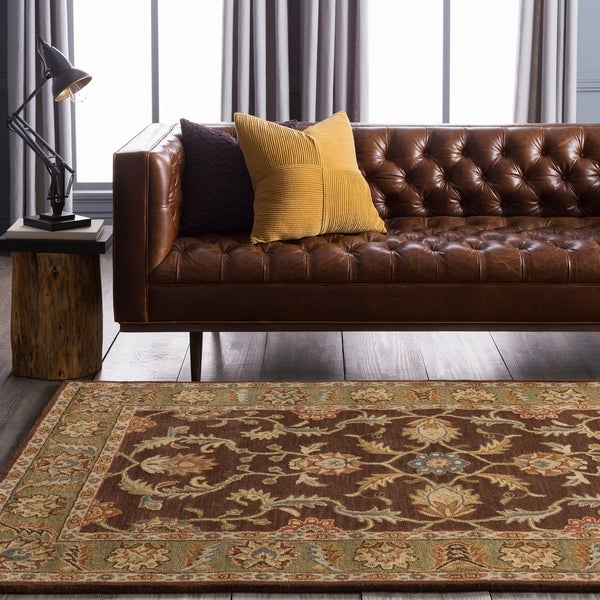 Hand-tufted Traditional Coliseum Chocolate Floral Border Wool Area Rug - 6'