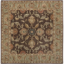 Hand-tufted Traditional Coliseum Chocolate Floral Border Wool Rug (6' Square)