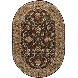 Hand-tufted Traditional Coliseum Chocolate Floral Border Wool Rug (8' x 10' Oval)