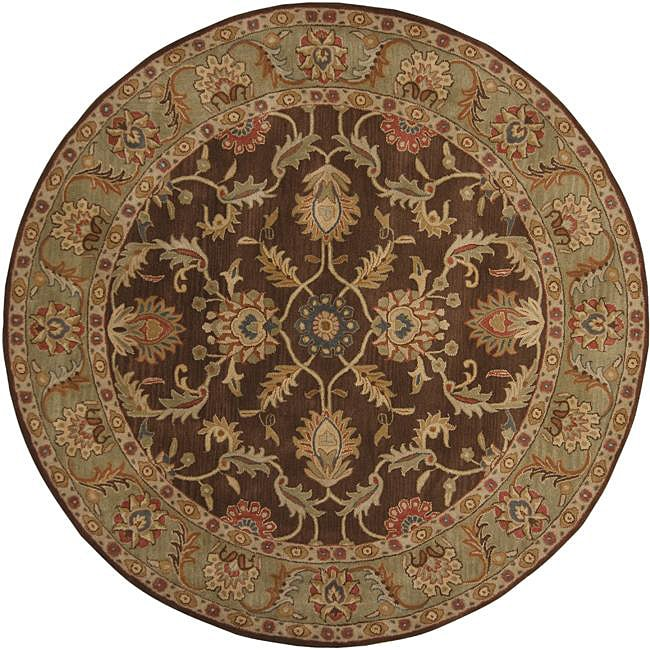 Hand-tufted Traditional Coliseum Chocolate Floral Border Wool Rug (8' Round)