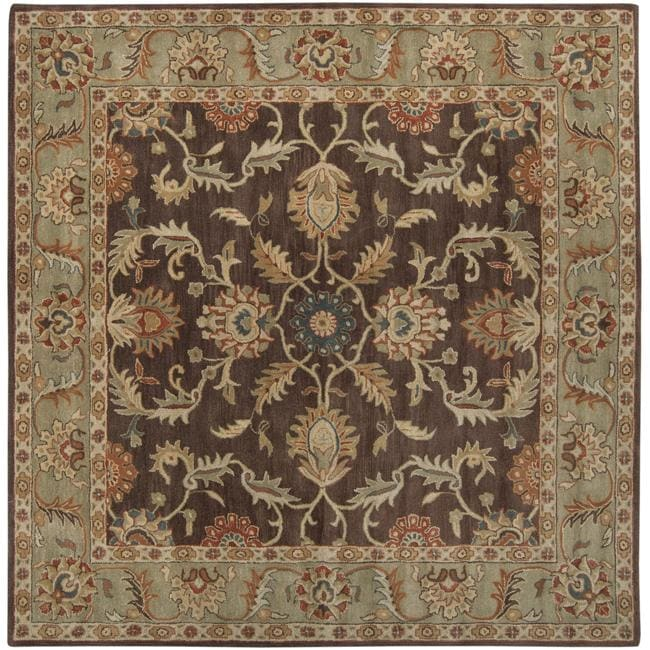 Hand-tufted Traditional Coliseum Chocolate Floral Border Wool Rug (8' Square)