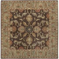 Hand-tufted Traditional Coliseum Chocolate Floral Border Wool Area Rug (8' Square)