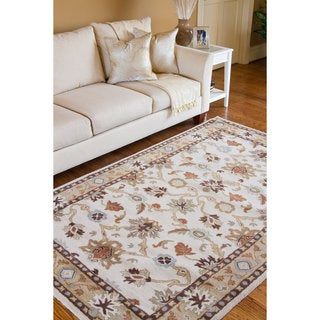Hand-tufted Traditional Coliseum Vanilla Floral Border Wool Rug (10' x 14')