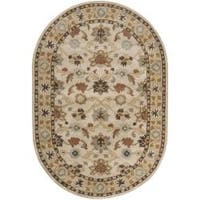 Hand-tufted Traditional Coliseum Vanilla Floral Border Wool Area Rug (8' x 10' Oval)