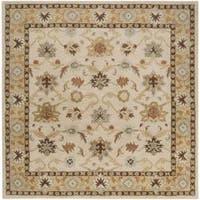 Hand-tufted Traditional Coliseum Vanilla Floral Border Wool Area Rug (8' Square)