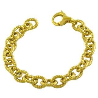 Goldkist 18k Yellow Gold over Silver Hammered Oval Link Bracelet