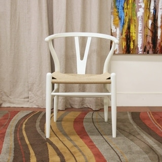 Baxton Studio Wishbone Modern White Wood Dining Chair with Light Brown Hemp Seat
