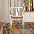 Baxton Studio Modern White Wood Dining Chair with Light Brown Hemp Seat