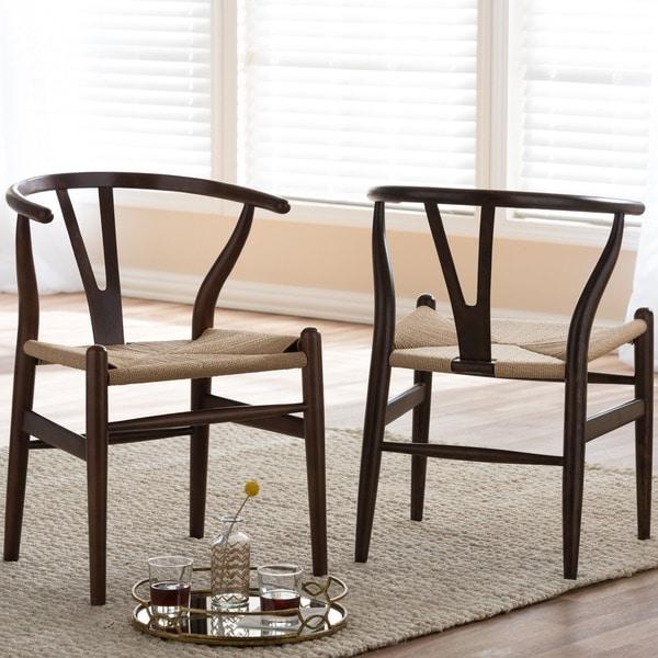 Baxton Studio Wishbone Modern Dark Brown Wood Dining Chair with Light Brown Hemp Seat