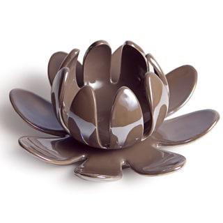 Lotus Flower Pearl Brown Porcelain Candleholder