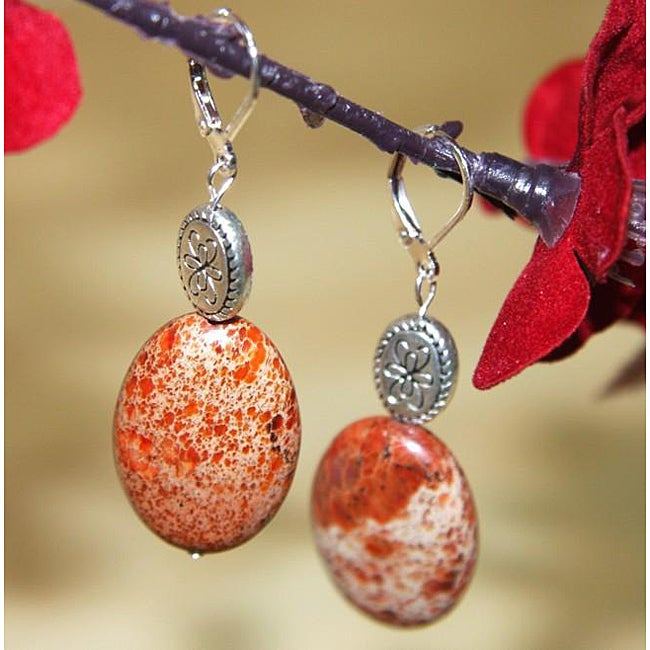 Susen Foster Silverplated Orange Variscite 'Silver Mountain' Earrings