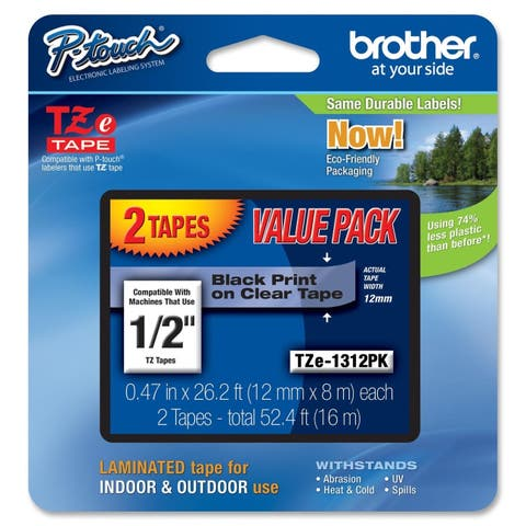 """Brother 1/2"""" Black/Clear Laminated TZe Tape Value Pack"""