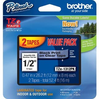 "Brother 1/2"" BK/CL Laminated TZe Tape Value Pack