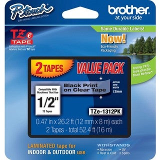 "Brother 1/2"" BK/CL Laminated TZe Tape Value Pack"