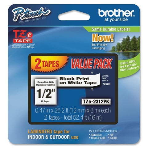 "Brother 1/2"" Black/White TZe Laminated Tape Value Pack"