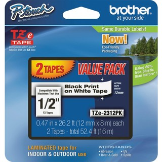 "Brother 1/2"" BK/WE TZe Laminated Tape Value Pack"