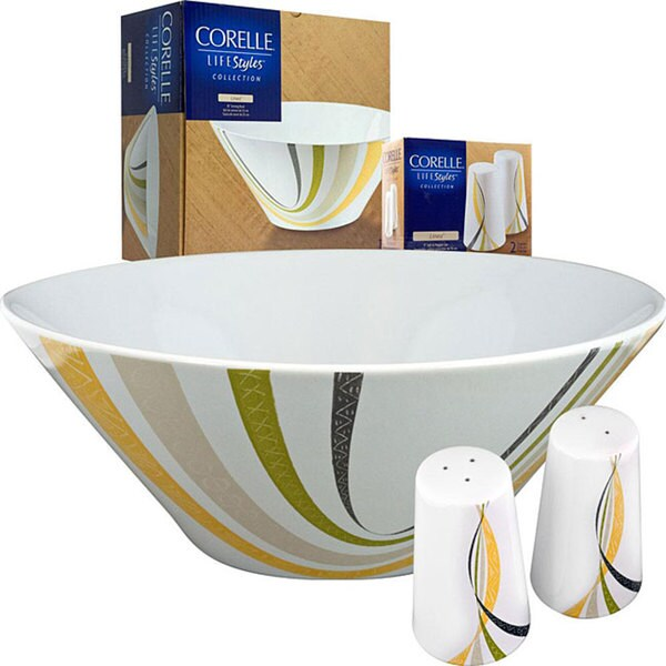 Corelle Linea Serving Bowl with Salt and Pepper Set