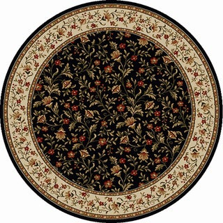 Admire Home Living Amalfi Black Floral Rug (8' Round)