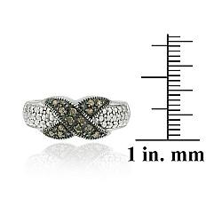 DB Designs Sterling Silver 1/8ct TDW Brown Diamond 'X' Design Ring - Thumbnail 2