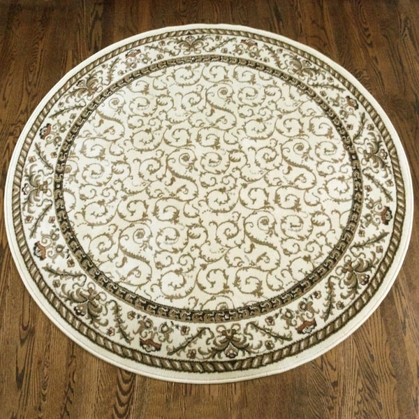 Admire Home Living Amalfi Transitional Area Rug (5'3 Round) - 5'3 x 5'3