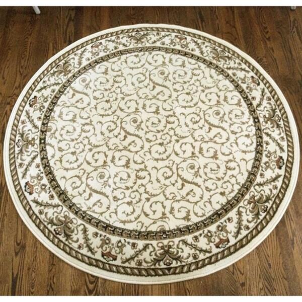 Admire Home Living Amalfi Ivory Oriental Rug (8' Round) - 8' x 8'