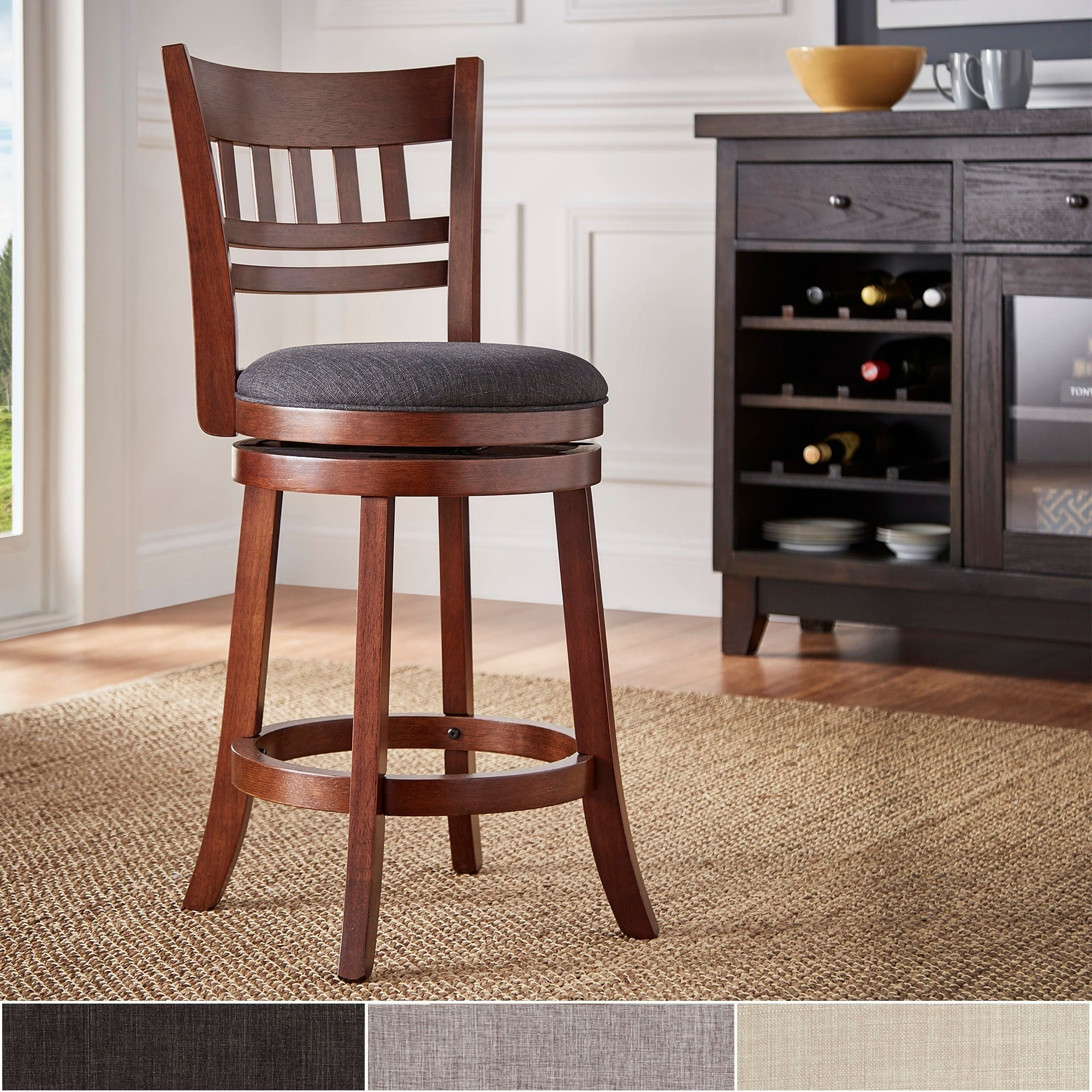 Verona Linen Lattice Back Swivel 24 Inch Counter Height Stool By