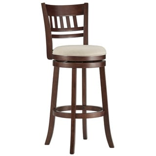 TRIBECCA HOME Verona Linen Window Back Swivel 29-inch Bar Stool