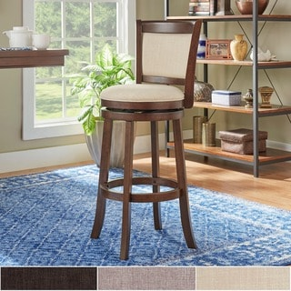 TRIBECCA HOME Verona Panel Back Linen Swivel 29-inch Bar Height Stool