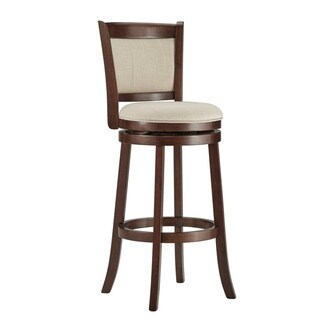 TRIBECCA HOME Verona Panel Back Linen Swivel 29-inch Bar Stool