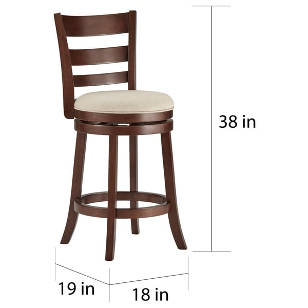 verona linen ladder back swivel 24inch high back counter height stool by inspire q classic free shipping today