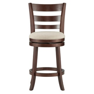 Verona Linen Ladder Back Swivel 24-inch High Back Counter Height Stool by iNSPIRE Q Classic