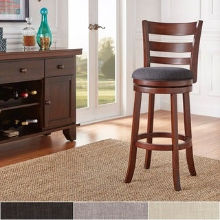 TRIBECCA HOME Verona Linen Ladder Back Swivel 29-inch Bar Height Stool