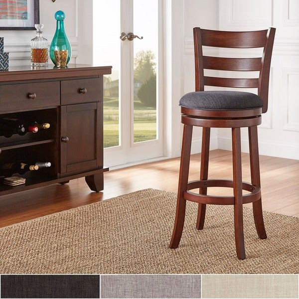 Verona Linen Ladder-back Swivel 29-inch High Back Bar Stool by TRIBECCA HOME